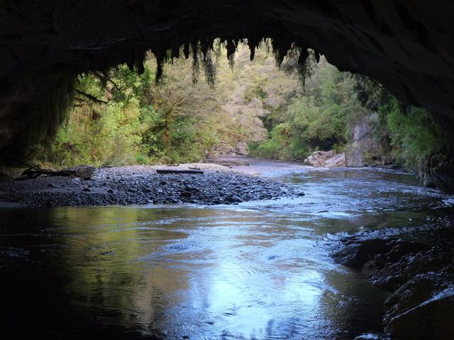 Oparara River flowing out of Moria Gate arch2